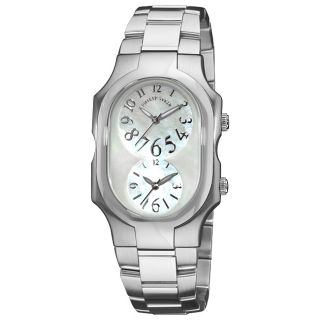 Philip Stein Mens Signature Stainless Steel Dual Time Watch