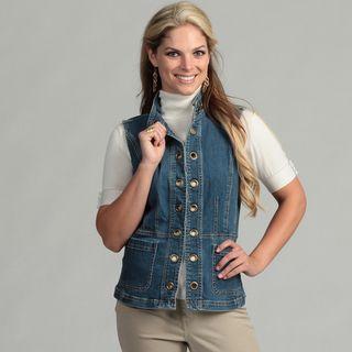Live A Little Womens Grommet Denim Vest