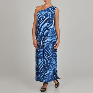 Lennie for Nina Leonard Womens Blue Animal print One shoulder Plus