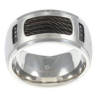 Stainless Steel Mens Black Diamond Accent Band
