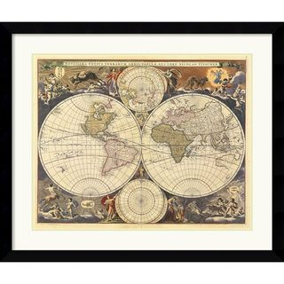 Ria Visscher New World Map, 17th Century Framed Art Print