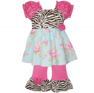 AnnLoren Girls Shabby Floral/Zebra Shirt and Capri Pant Set