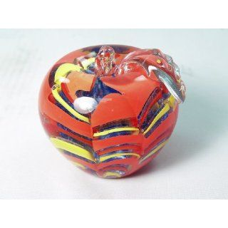 Hand Glass Rainbow Pattern Apple Paperweight RJF 248 Everything Else