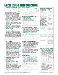 Mac Excel 2004 Introduction Quick Reference Guide (Cheat Sheet of