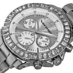 Vernier Womens Large Silver Chrono  Dial Dual Time Watch