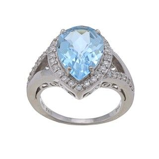 Glitzy Rocks Sterling Silver Blue Topaz and Cubic Zirconia Ring