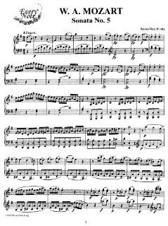 Mozart Piano Sonata No. 5 in G Major, K.283 Instantly download and