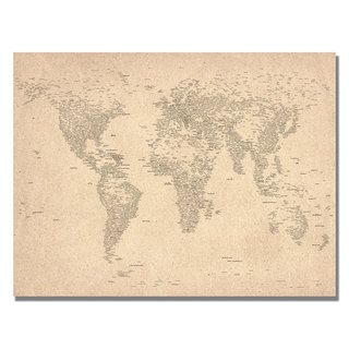 Michael Tompsett World Map of Cities Canvas Art