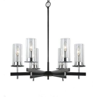 Black and Chrome 6 light Clear Glass Contemporary Chandelier
