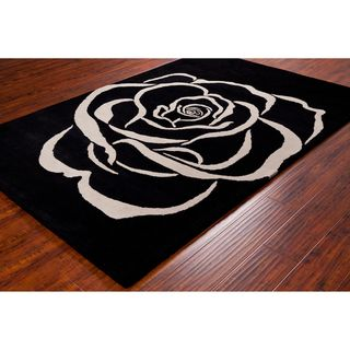 Allie Handmade White Rose Wool Rug (5 x 76)