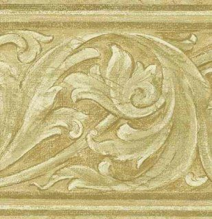 Moss Beige 418B287 Embossed Wallpaper Border