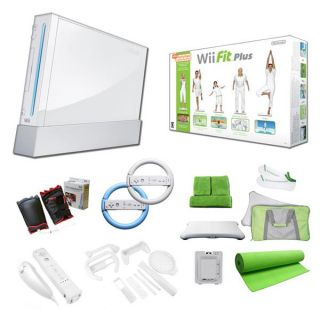 Nintendo Wii (White) and Wii Fit Plus Super Bundle   Boxing Gloves