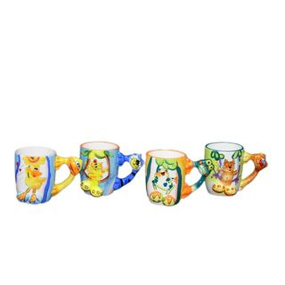 Threestar Assorted Animal Handle Coffee Mugs/ Tea Cups (Set of 4