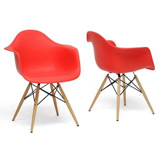 Pascal Red Plastic Mid Century Modern Shell Chairs (Set of 2