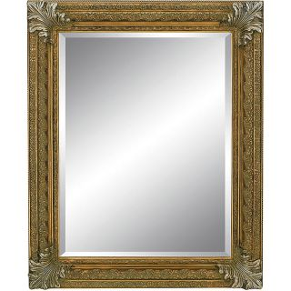 Rectangular Framed Rustic Gold Silver Wall Mirror