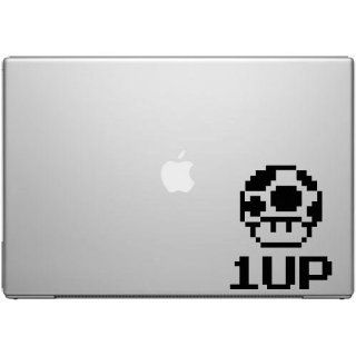 NES 8 BIT 1up Mushroom Super Mario   Black Vinyl Decal for