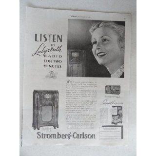 Stromberg,Carlson Radios. Vintage 30s full page print ad