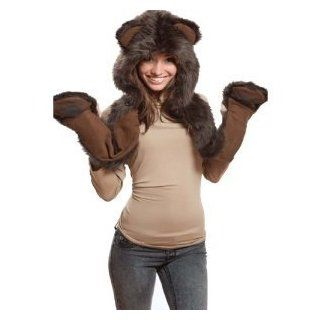 Brown Bear Full Animal Hood Hoddie Hat Faux Fur 3 In 1