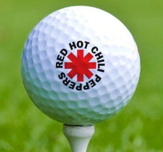 3 x Rock n Roll Golf Balls Red Hot Chili Peppers Musical
