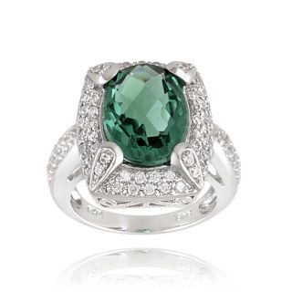 Glitzy Rocks Rhodiumplated 9.2ct TGW Lab Created Green Quartz and CZ