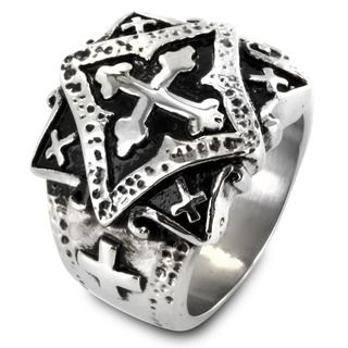 West Coast Jewelry Stainless Steel Ornamental Multi Cross Ring