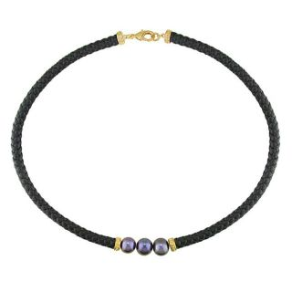 Pink plated Brass and Black Leather Black FW Pearl Necklace (9 10 mm