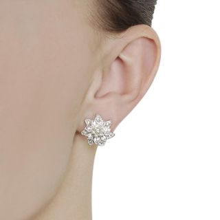 Journee Collection Silvertone Pave set CZ and Faux Pearl Flower