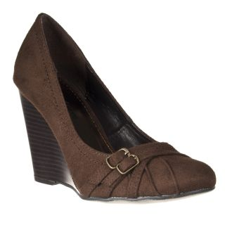 Riverberry Womens Dexter Black Microsuede Wedges
