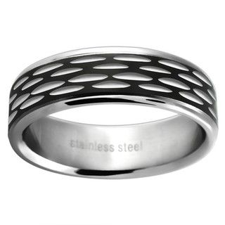 Stainless Steel Womens Black Etched Wedding style Band