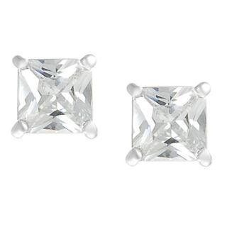 Journee Collection Silvertone Princess cut CZ Stud Earrings