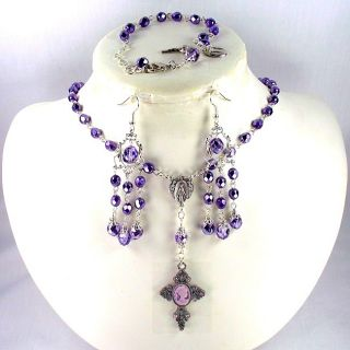 Plum Crystal 6 mm Catholic Wedding Jewelry