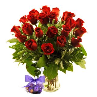 Valentines Day Overnight Delivery) Two Dozen Red Roses with Godiva