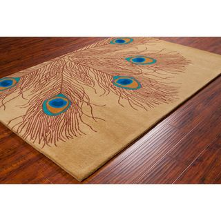 Allie Handmade Peacock Feathers Wool Rug (5 x 76)