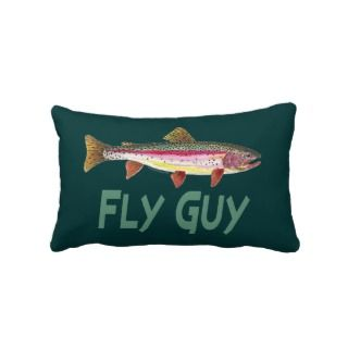 Rainbow Trout Fly FIshing Throw Pillow
