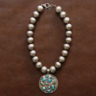 Sterling Silver Turquoise Large Bead Necklace (Native American