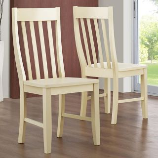 Roman Slat Back Antique White Chairs (Set of 2)