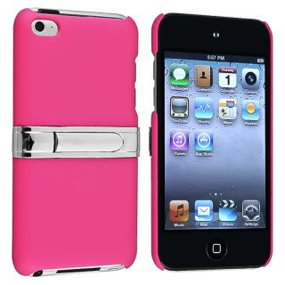 Hot Pink/ Chrome Stand Snap on Case for Apple iPod Touch Generation 4