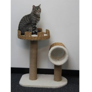 PetPal 24 x 16 x 27 in. Cat Furniture with Nest Crown & Tunnel & Post