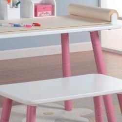 Stages Kids Art Table and Bench Set in White and Pink Finish