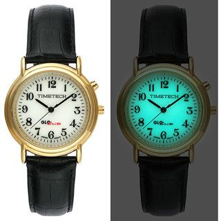 Timetech Mens Glo Brite Dial Goldtone Round Watch