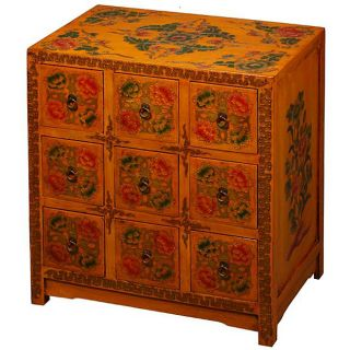 Hand painted Tibetan 9 drawer End Table/ Cabinet