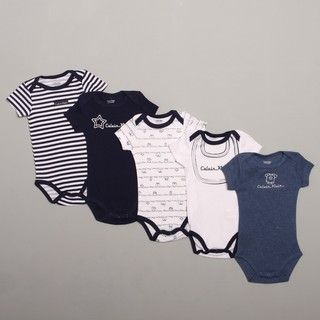 Calvin Klein Infant Boys Blue/ White Bodysuit (Set of 5)