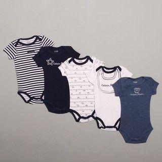 Calvin Klein Infant Boys Blue/ White Bodysuit (Set of 5)