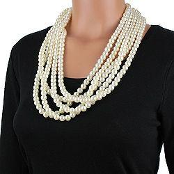 Silvertone Faux Pearl Bead Necklace