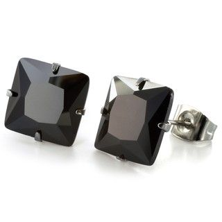 West Coast Jewelry Stainless Steel 10mm Black Cubic Zirconia Earrings