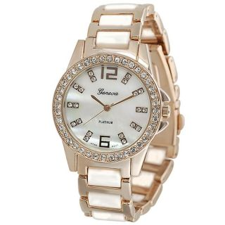 Geneva Platinum Womens Rhinestone accented Link Watch