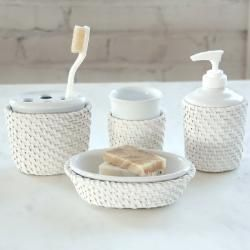 Cayman Four piece White Rattan/Ceramic insert Bath Accessory Set Today