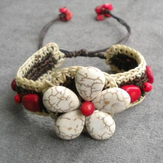 Handmade White Turquoise and Coral Flower Cuff Bracelet (Thailand