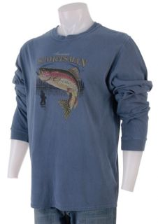 Further Out Trout Jump Mens Blue Long Sleeve T Shirt