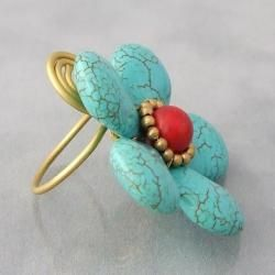 Brass Large Turquoise and Red Coral Flower Wrap Ring (Thailand